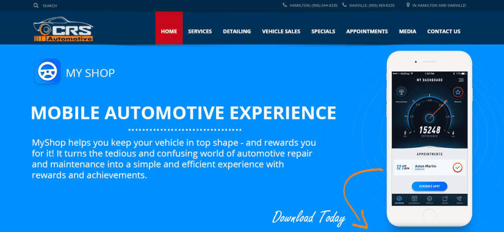 myshop crs automotive homepage Screenshot