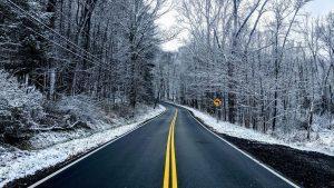 winter road driving