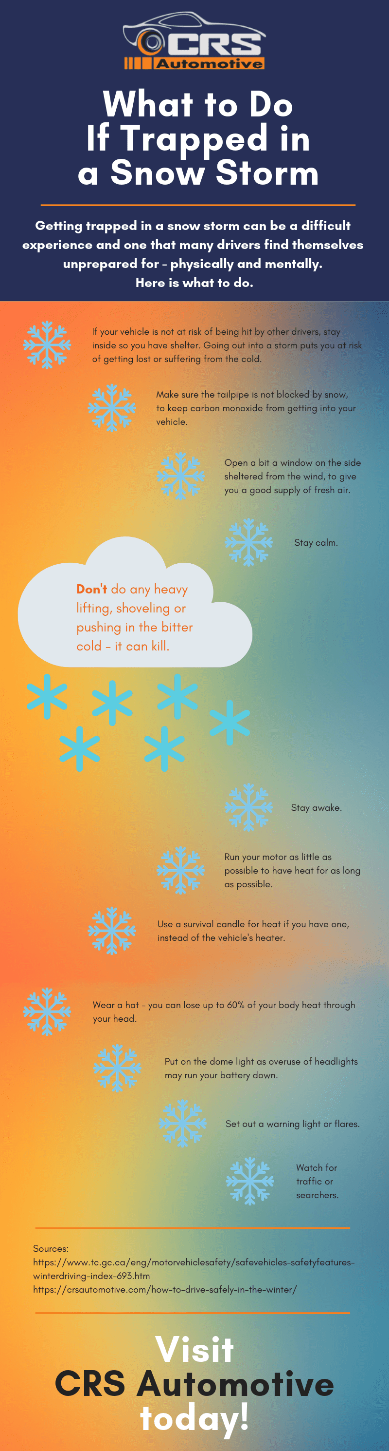 What to do If Trapped in a Snow Storm Infographic