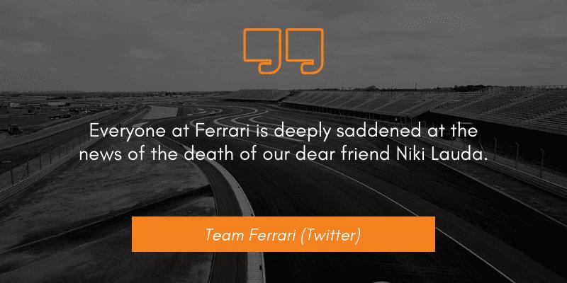 Team Ferrari (Twitter) niki lauda dies