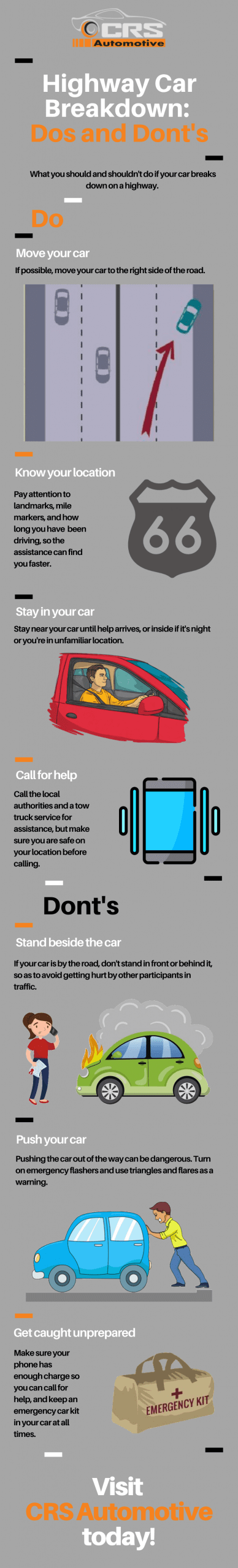 Highway car breakdown infographic