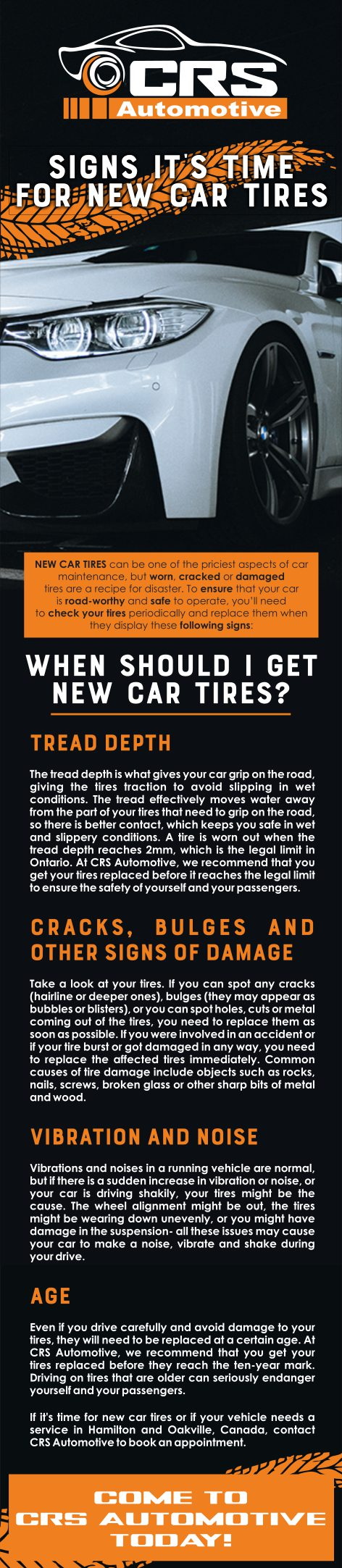 Signs it's time for new car tires